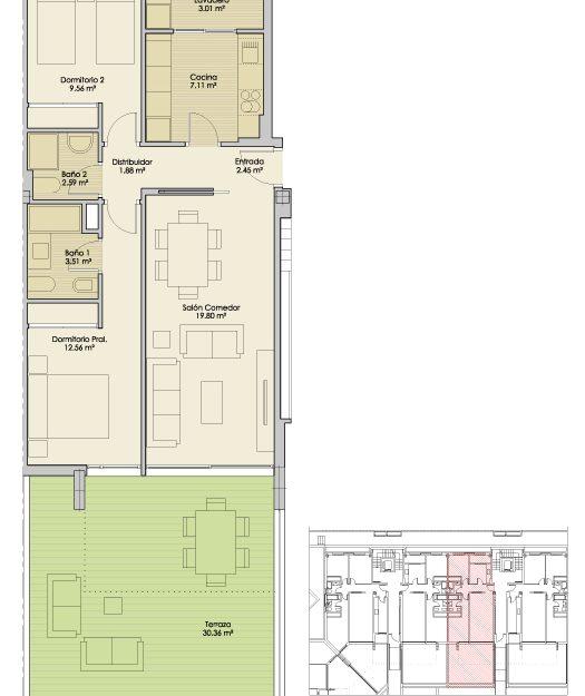 Plano-Nucleo4-PlantaBaja-B-Apartamentos-Terrazas-PuertoReal